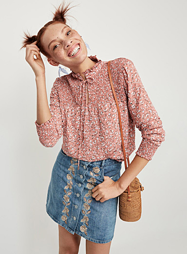 Smocked-accent blouse