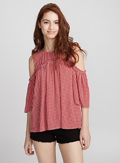 Accent-ruffle cold-shoulder blouse