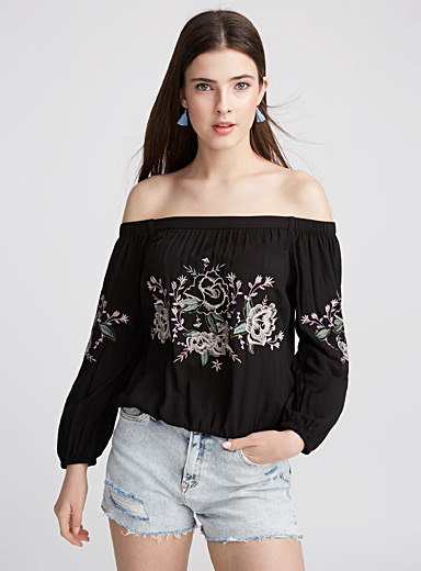 Rayon off-the-shoulder blouse