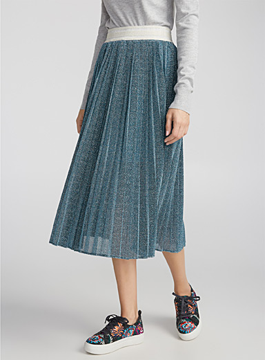 Starry sky pleated midi skirt