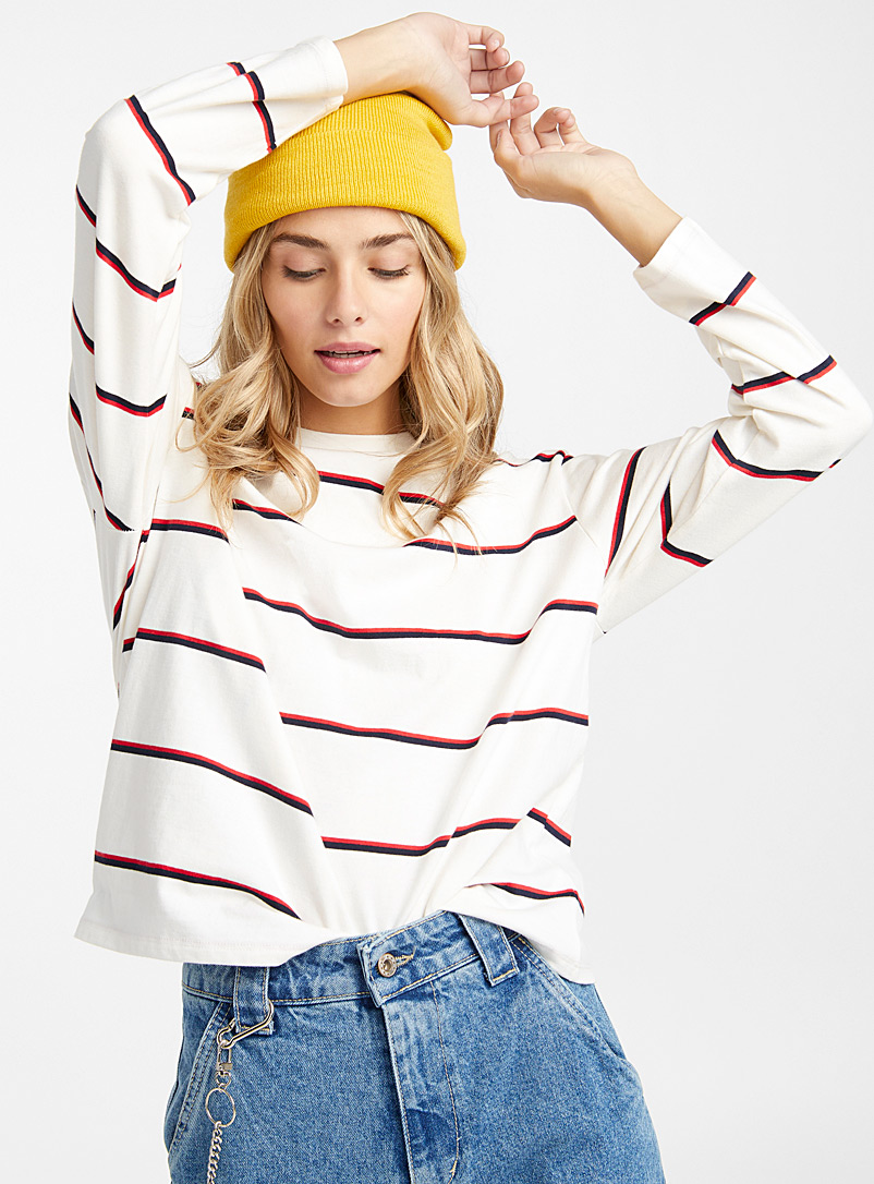 Oversized campus-stripe tee - Long Sleeves - White