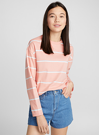 Oversized campus-stripe tee