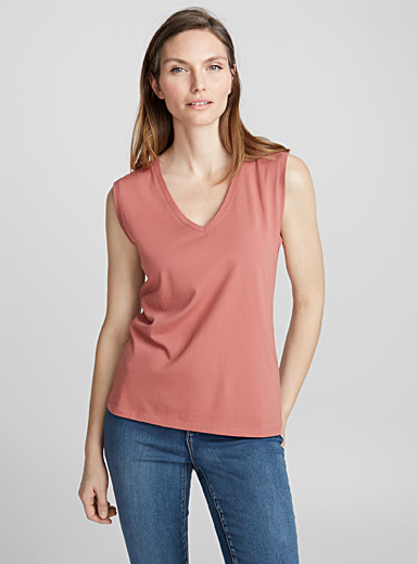 Cotton-modal V-neck tank top