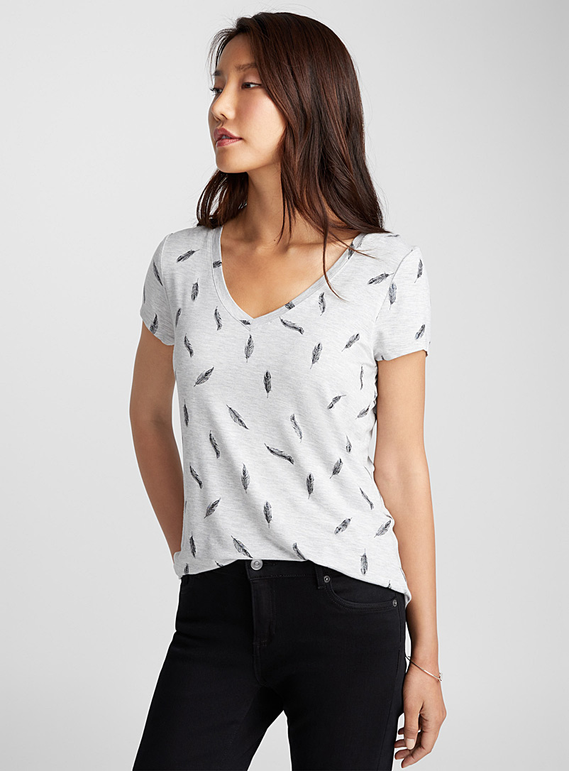 Playful pattern T-shirt - Short Sleeves - Patterned Grey