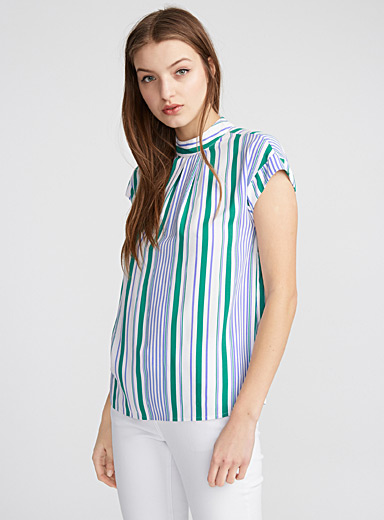 Striped low-back blouse