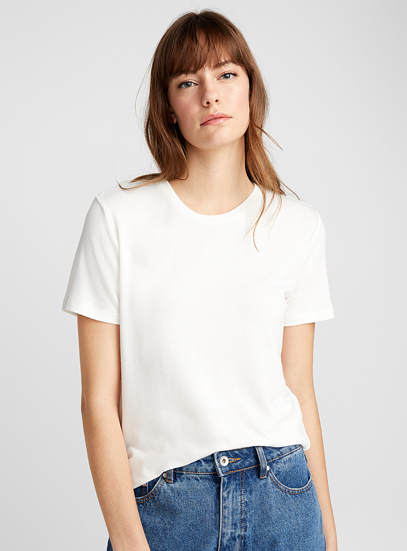 Soft knit tee - Short Sleeves & ¾ Sleeves - White