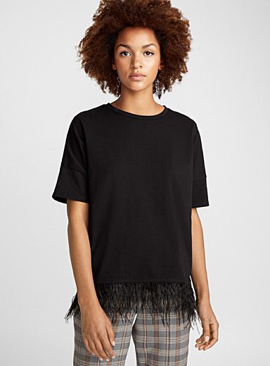 Feather-trimmed tee