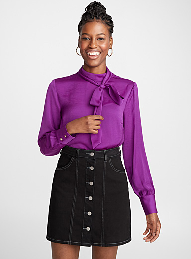 High tie-neck blouse