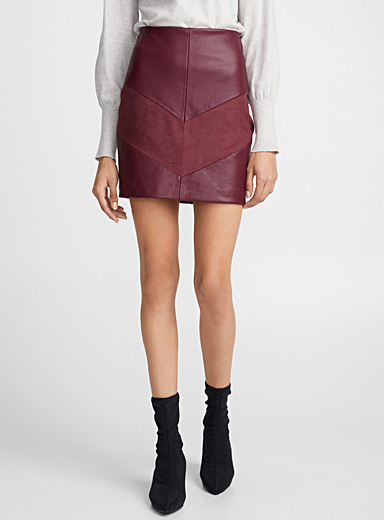 Faux-leather and suede block skirt