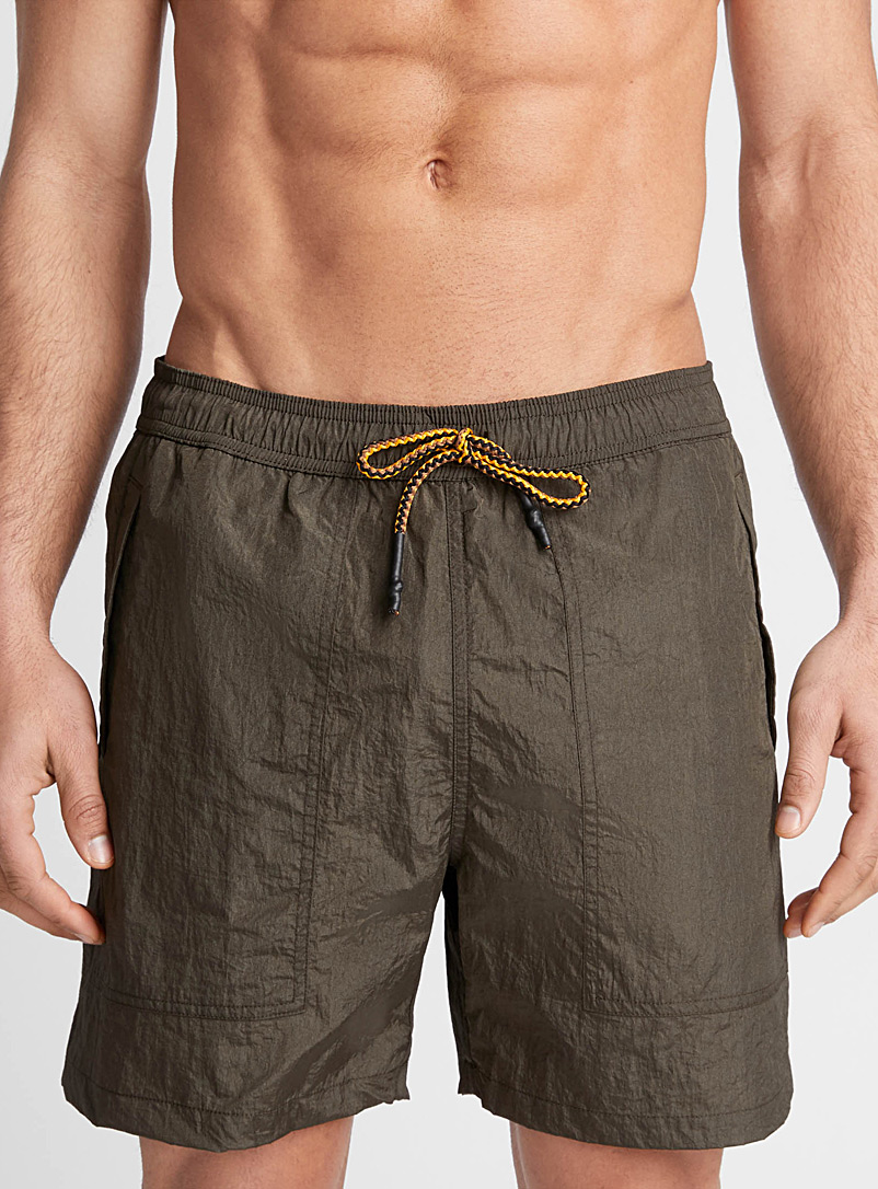 I.FIV5 Khaki Iridescent swim trunk for men