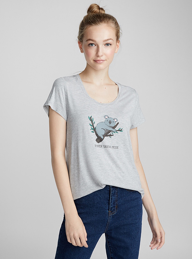 Accent pattern rayon tee - Short Sleeves - Grey