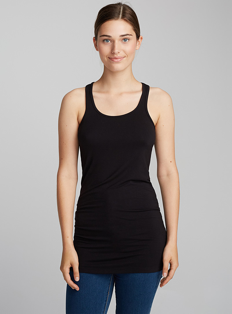 Long layered tank - Basic - Black