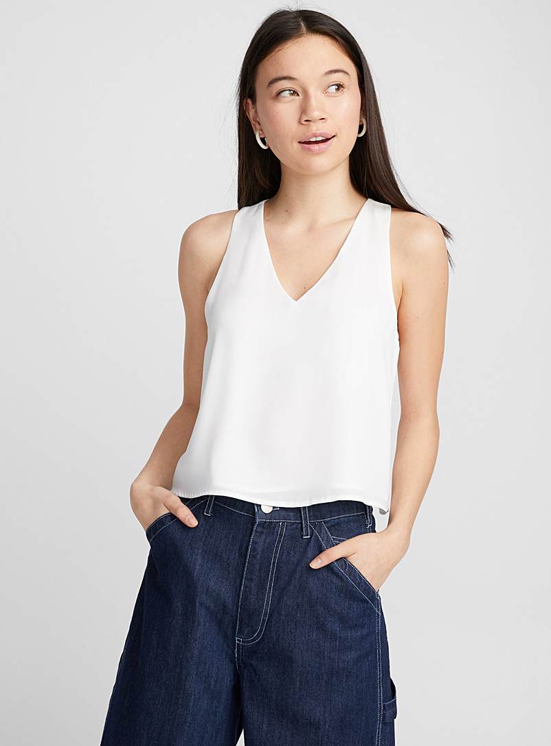 Racerback voile cami - Blouses - Ivory White