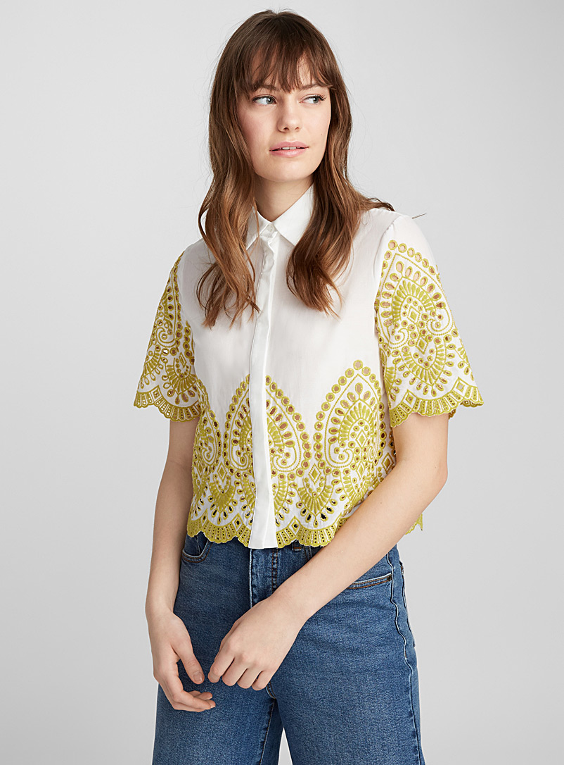Crochet and embroidery poplin shirt - Shirts - Patterned White