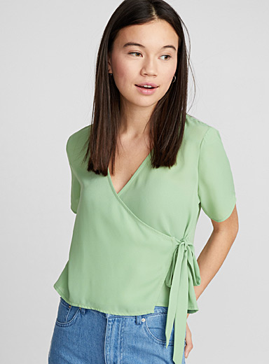 Cropped crossover blouse