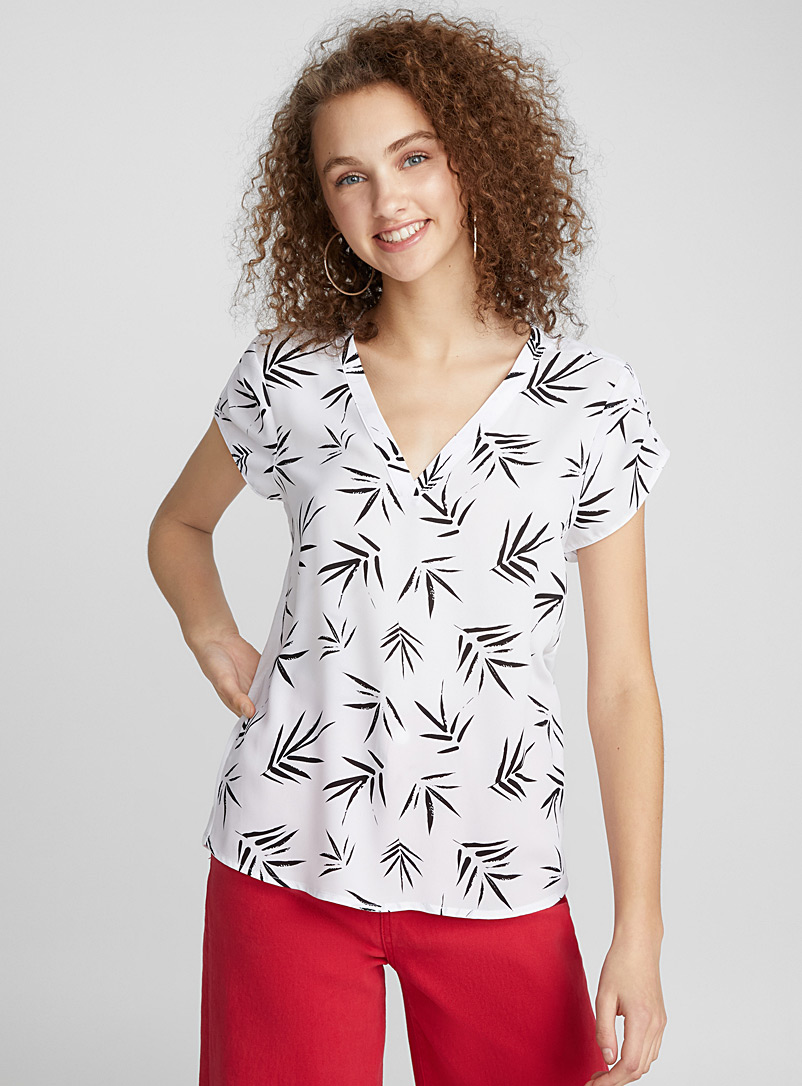 Jersey-back printed blouse - Blouses - White