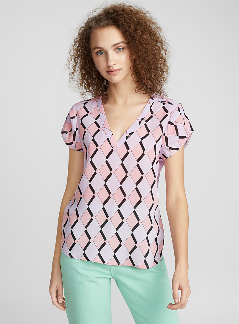Twik Pink Jersey-back printed blouse for women