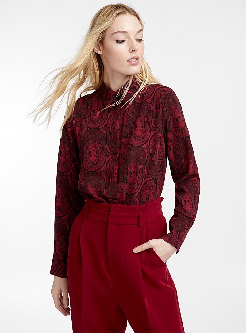 Silky crepe shirt - Shirts - Patterned Red