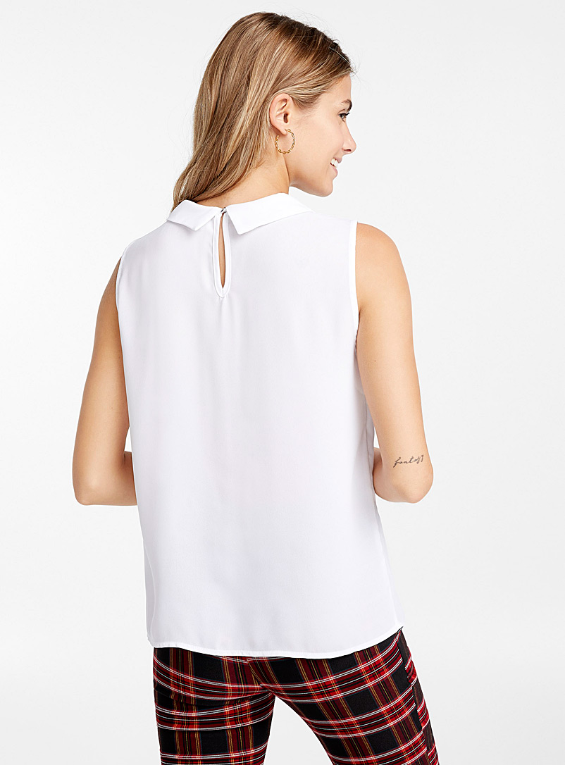 Recycled polyester polo collar blouse - Blouses - White
