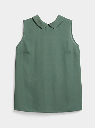 Twik Mossy Green Recycled polyester polo collar blouse for women