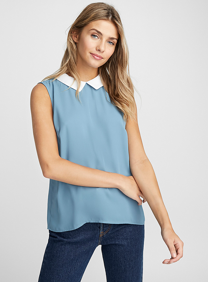 recycled-polyester-polo-collar-blouse