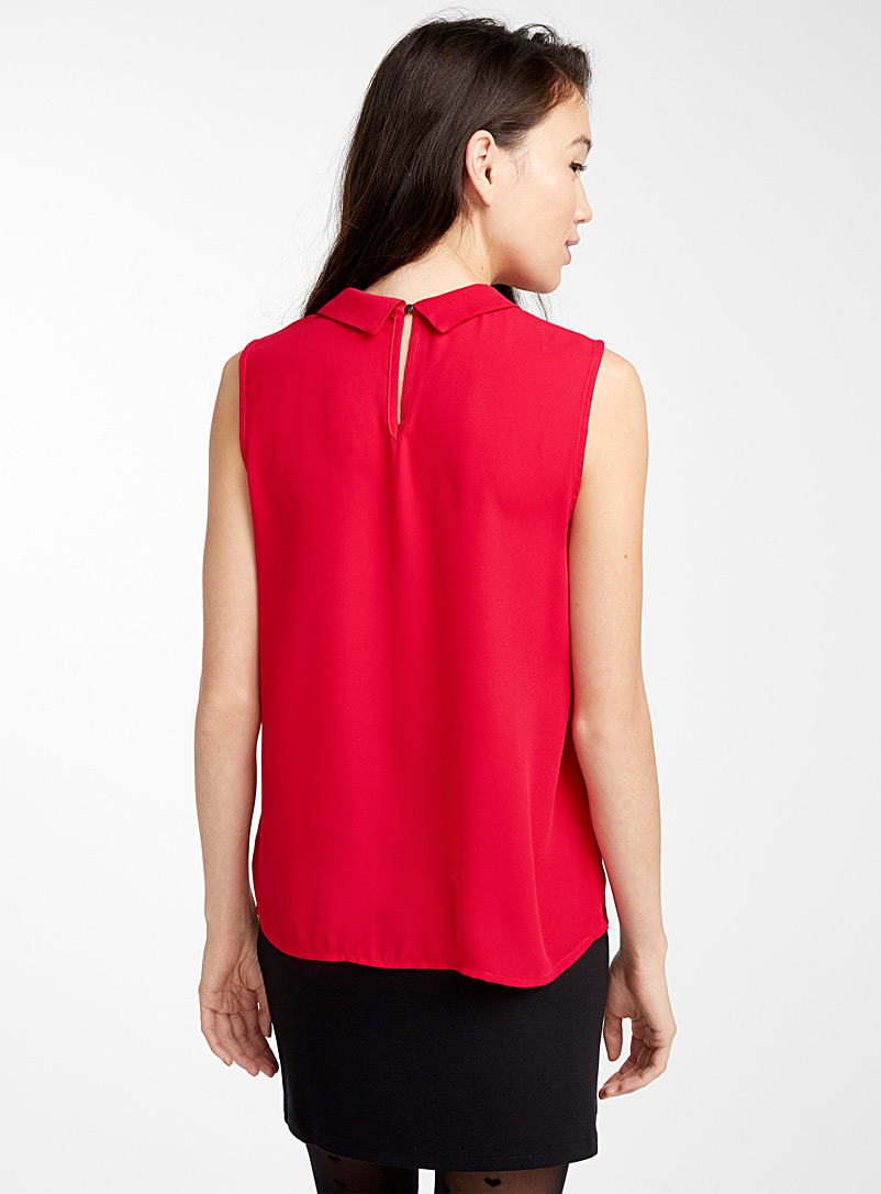 Recycled polyester polo collar blouse - Blouses - Red