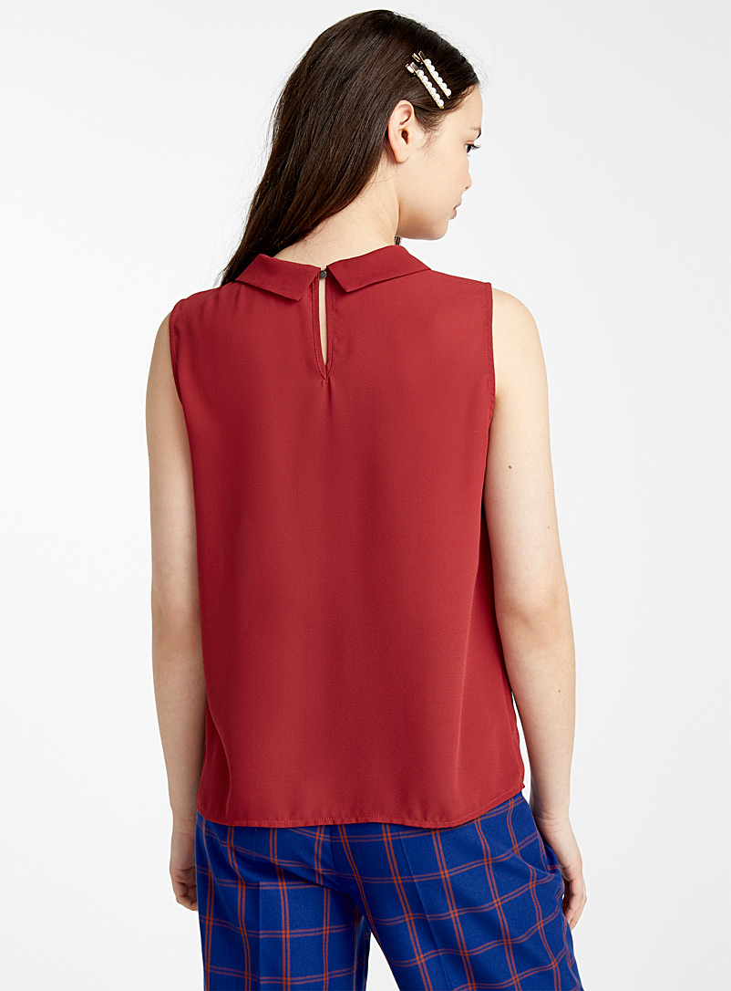 Recycled polyester polo collar blouse - Blouses - Ruby Red
