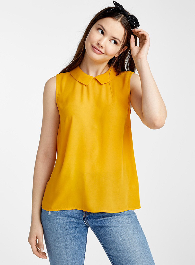 Twik Patterned Yellow Recycled polyester polo collar blouse for women