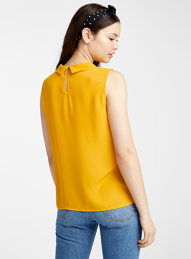 Recycled polyester polo collar blouse - Blouses - Golden Yellow