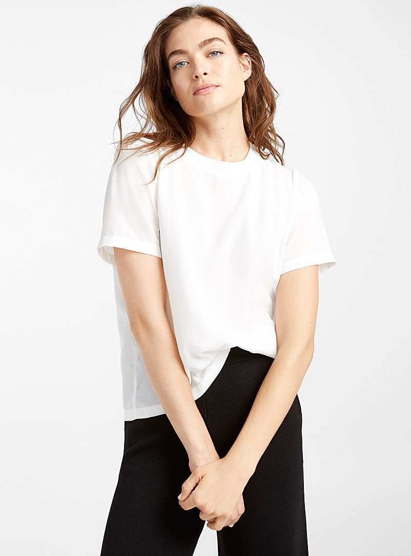 Ribbed-collar boxy blouse - Blouses - White
