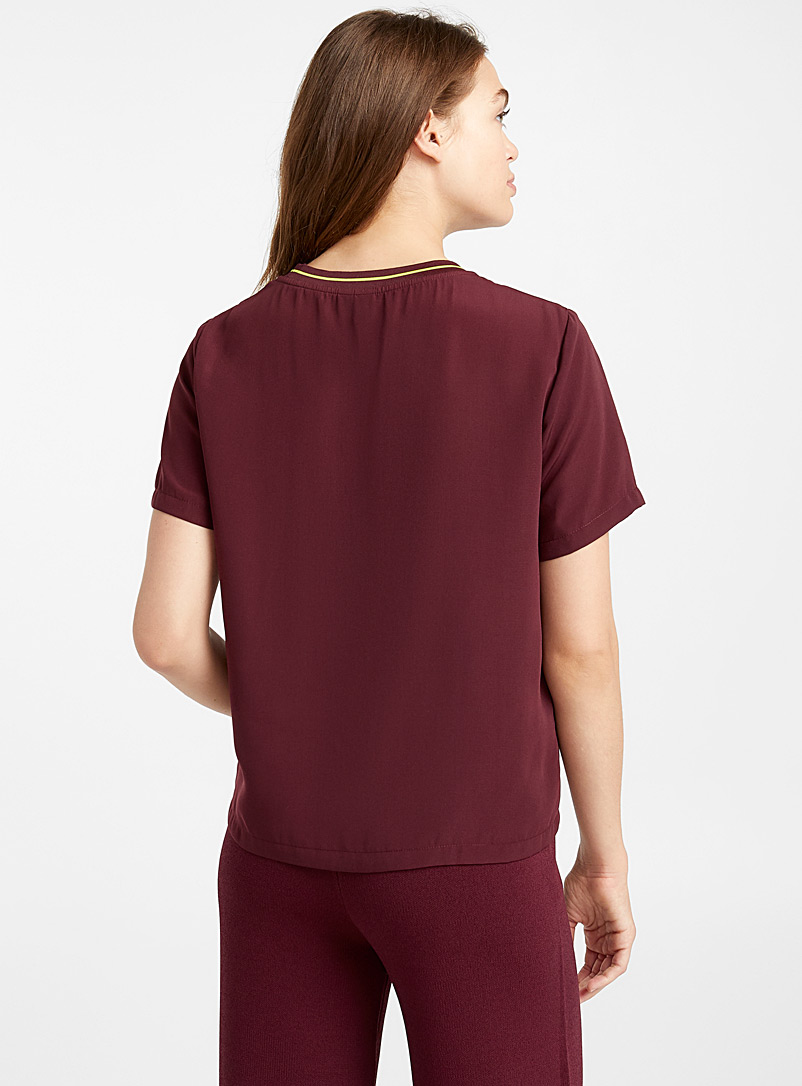 Ribbed-collar boxy blouse - Blouses - Ruby Red