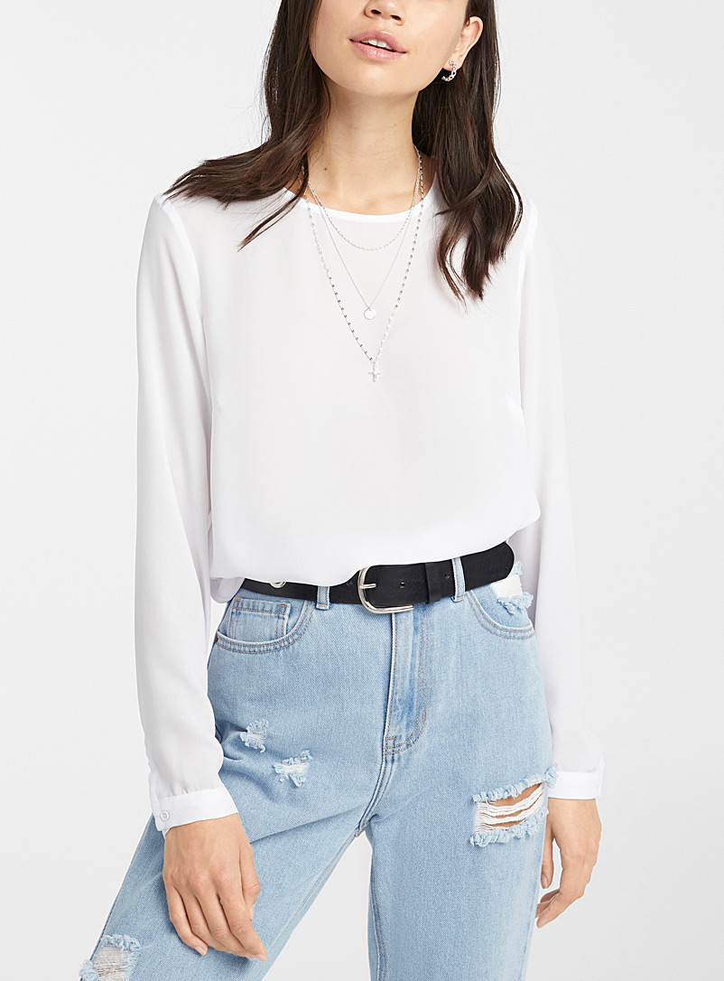 Recycled polyester zip-back blouse
