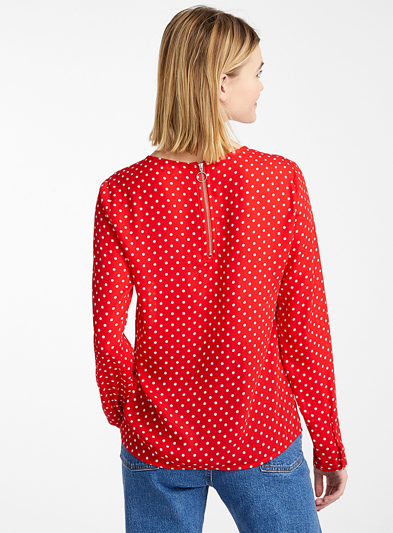 Twik Patterned Red Recycled polyester zip-back blouse for women