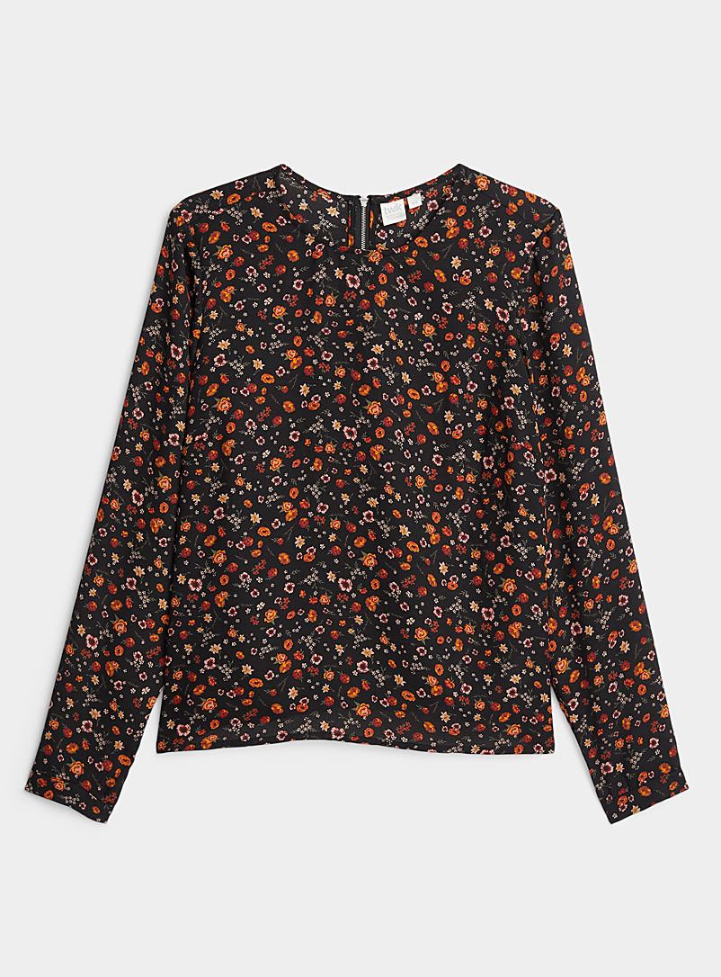 Twik Patterned black  Recycled polyester zip-back blouse for women