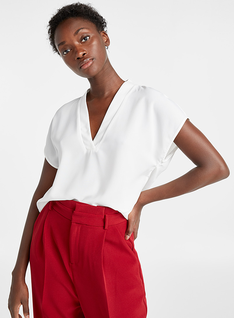 Accent V-neck blouse - Blouses - White