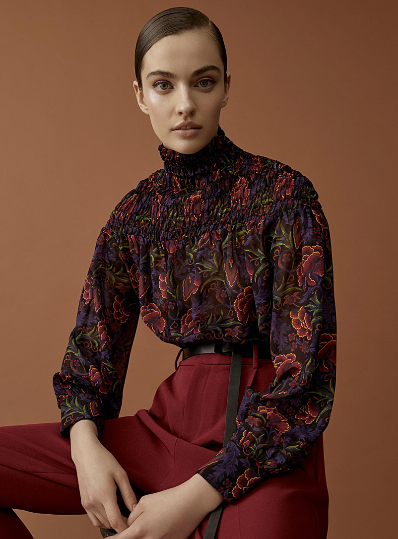 Tie-waist Victorian blouse - Blouses - Patterned Red
