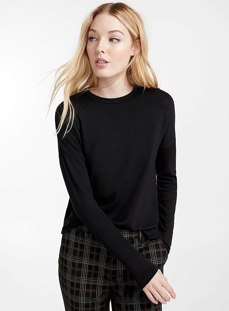 Icône Black Eco-friendly viscose long-sleeve tee for women