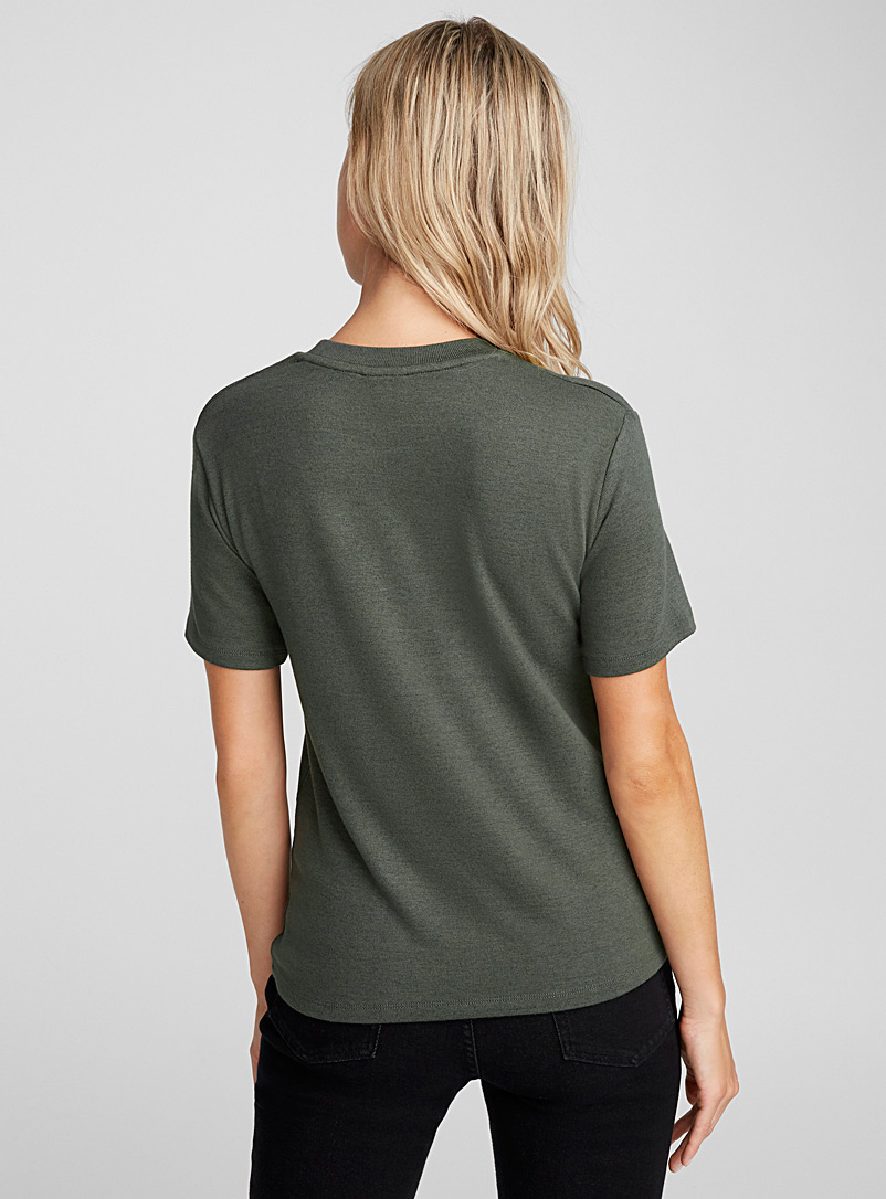 Fine knit tee - Basic - Mossy Green