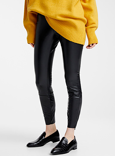 Faux-leather legging