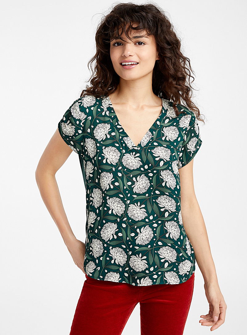 Twik Patterned green Recycled polyester print blouse for women