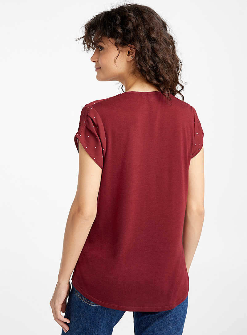 Recycled polyester print blouse - Blouses - Burgundy