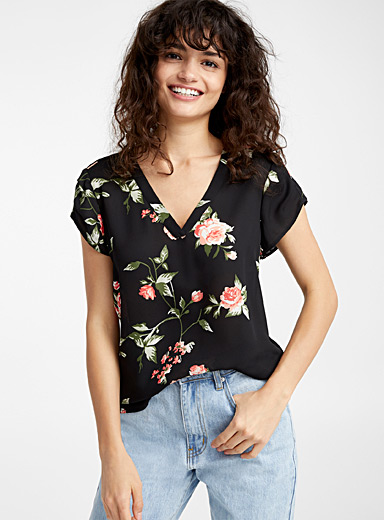 Recycled polyester print blouse