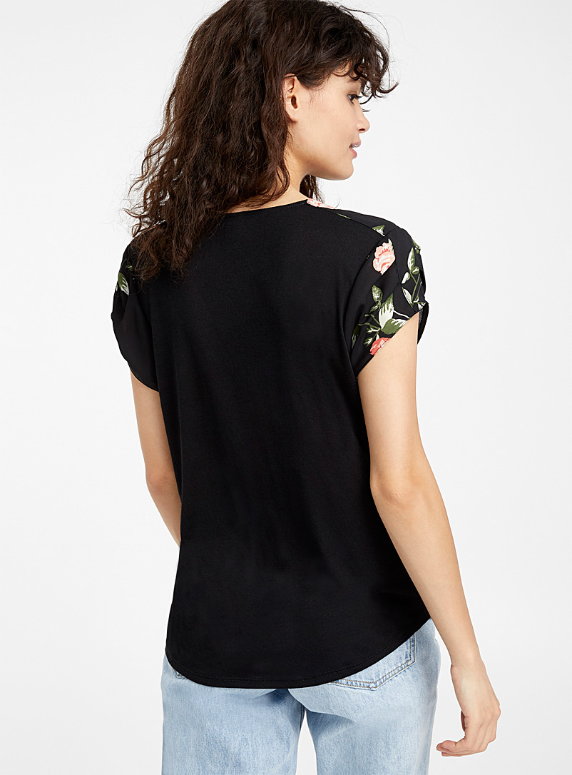 Recycled polyester print blouse - Blouses - Patterned black