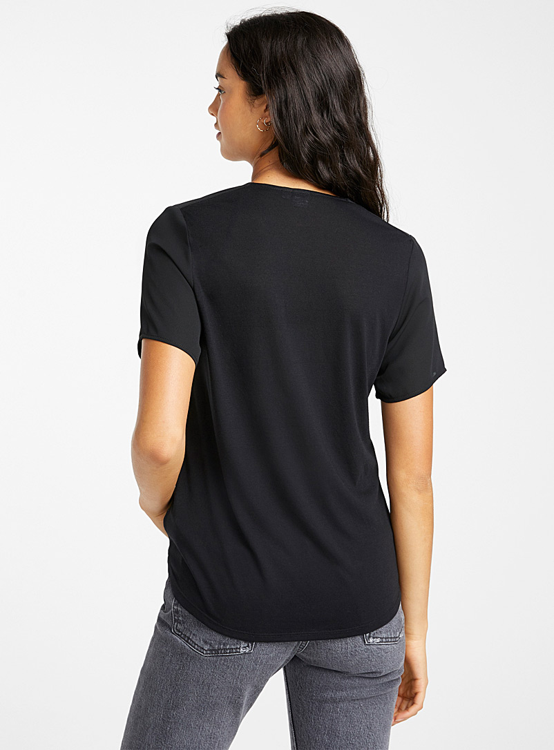 Twik Black Recycled polyester double-weave blouse for women