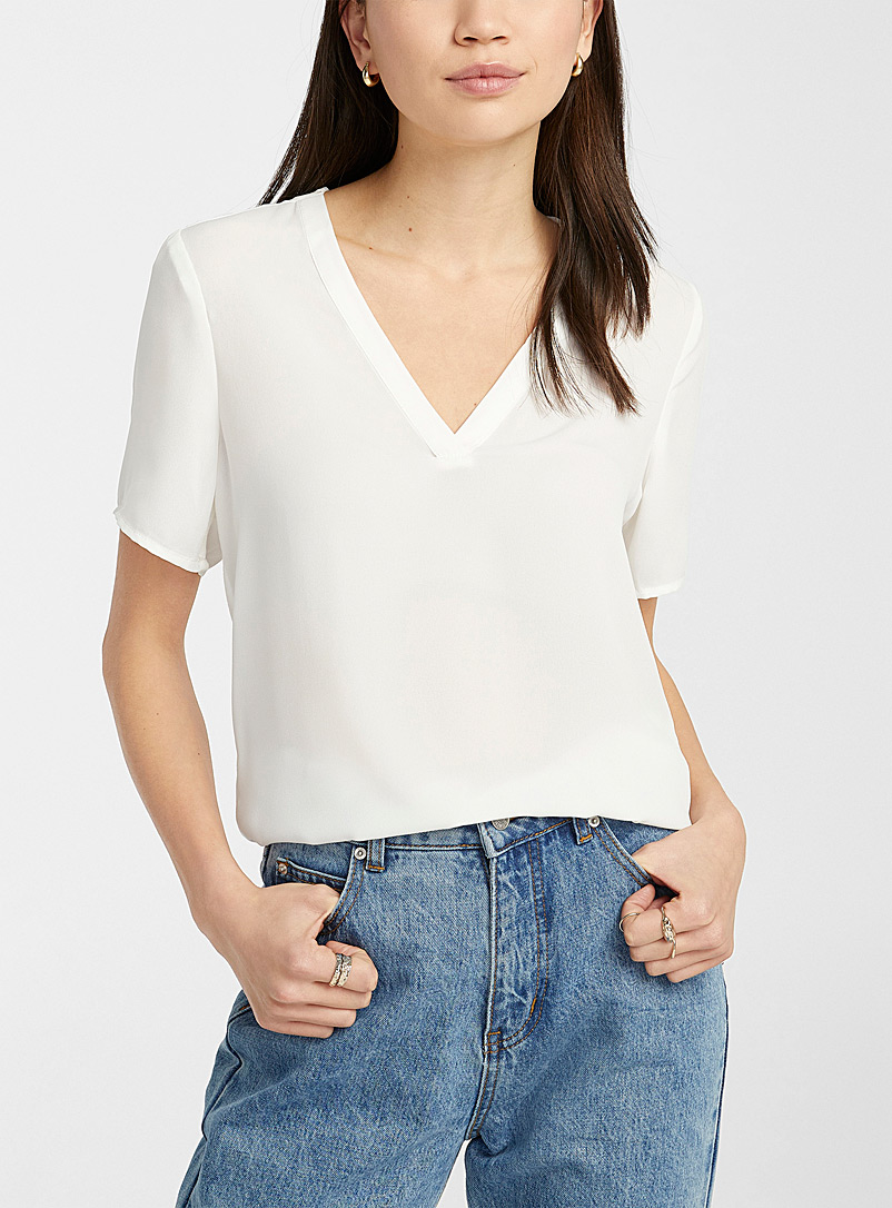 Twik White Recycled polyester double-weave blouse for women