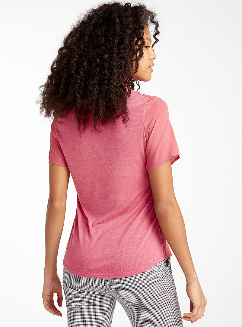Recycled polyester double-weave blouse - Blouses - Medium Pink