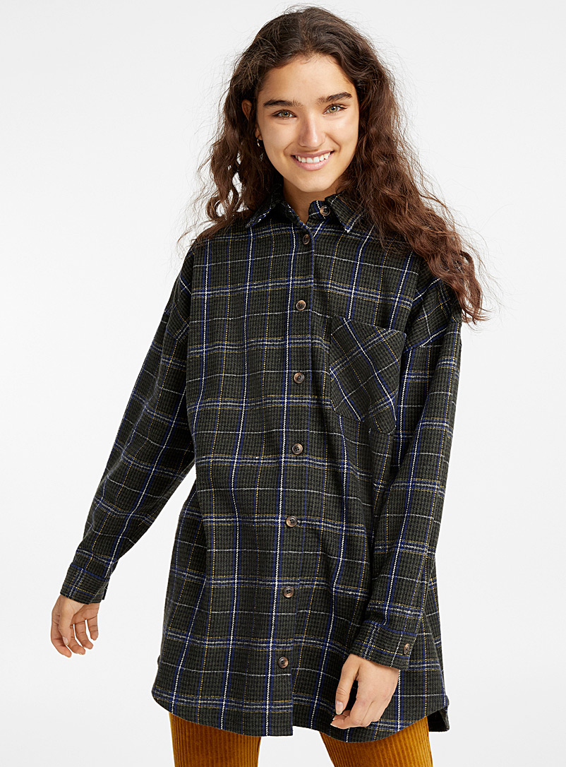Plaid wool overshirt - Shirts - Green