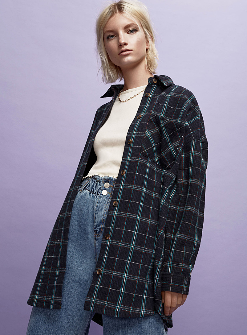 Plaid wool overshirt - Shirts - Blue