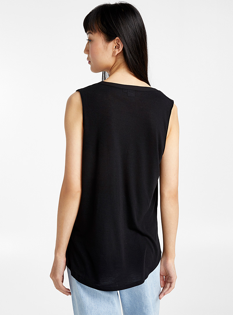 Recycled polyester sleeveless mixed media blouse - Blouses - Black