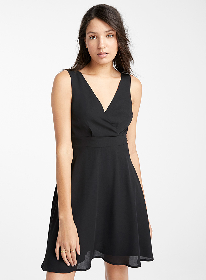 Twik Black Recycled polyester crossover dress for women
